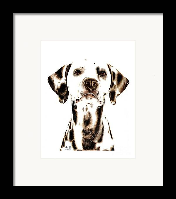 Portraits Framed Print featuring the drawing Fire Fighter's Best Friend by Sheryl Unwin