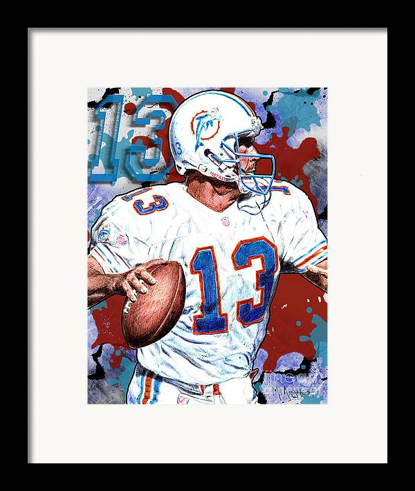 Dan Marino Framed Print featuring the drawing First And Ten by Maria Arango