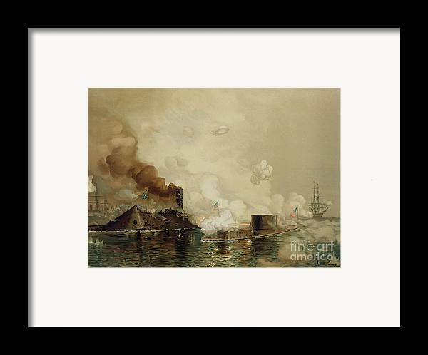Armored; Warships; Battle; Facsimile Print; Naval; John Ericsson; Turret; Boat Framed Print featuring the painting First Fight Between Ironclads by Julian Oliver Davidson