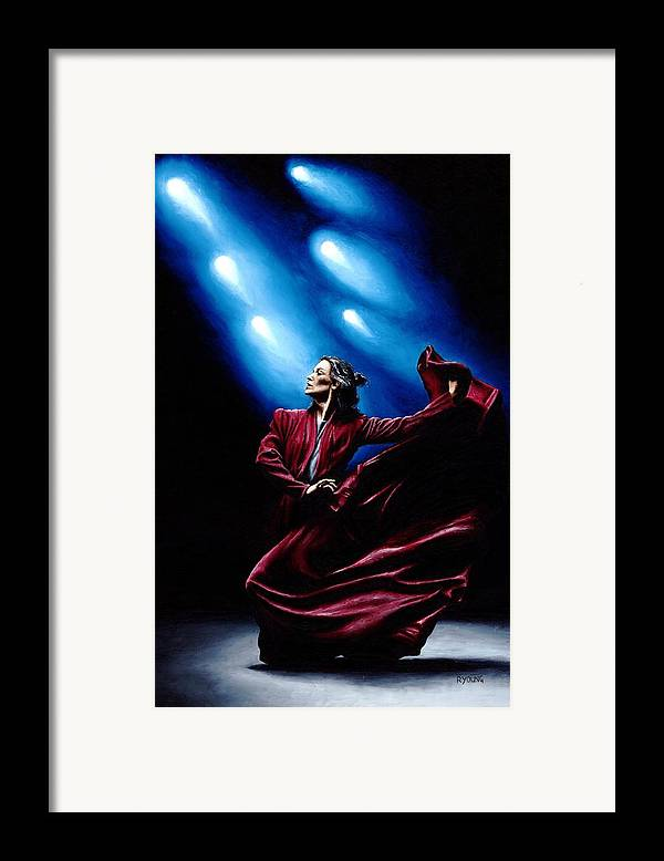Original Oil Painting Produced On Stretched 91cm X 61cm Canvas Using A Knife Framed Print featuring the painting Flamenco Performance by Richard Young