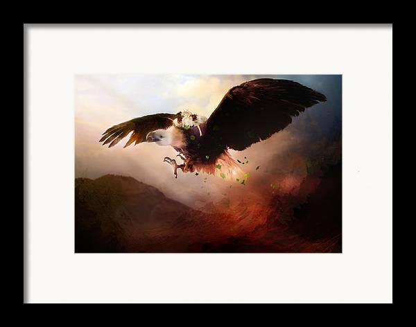 Children Framed Print featuring the digital art Flight Of The Eagle by Mary Hood