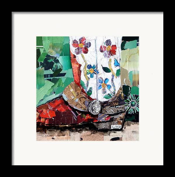 Torn Paper Collage Framed Print featuring the painting Floral Boot by Suzy Pal Powell