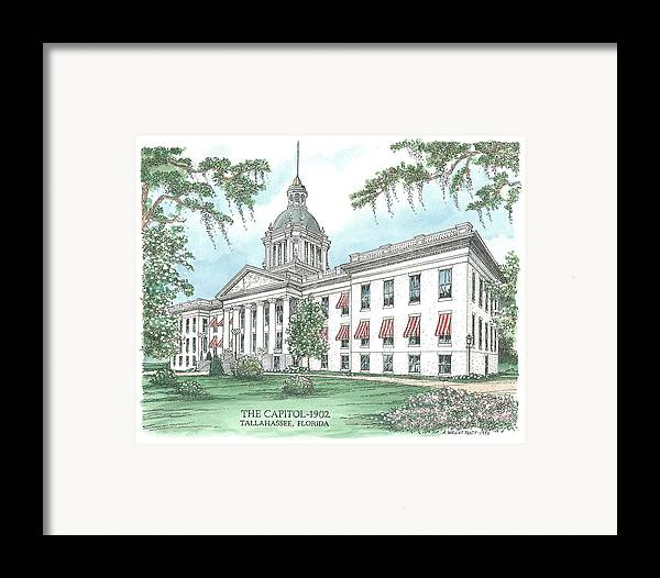 Florida Framed Print featuring the drawing Florida Capitol 1902 by Audrey Peaty