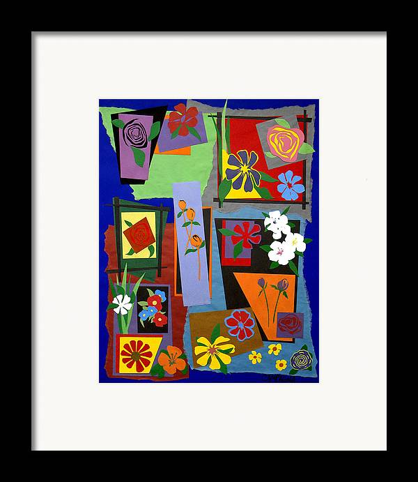 Cut Paper Framed Print featuring the tapestry - textile Flowers Study 1 by Teddy Campagna