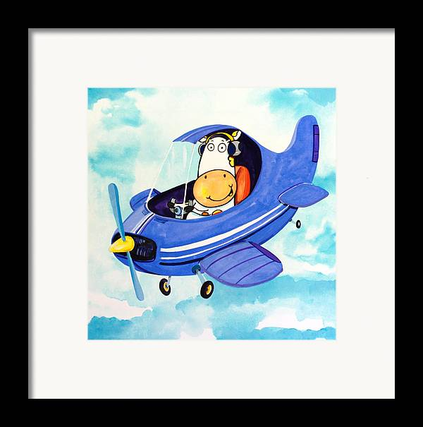 Cow Framed Print featuring the painting Flying Cow by Scott Nelson