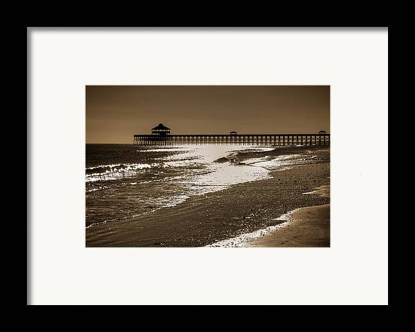 Folly Framed Print featuring the photograph Folly Pier Sunset by Drew Castelhano