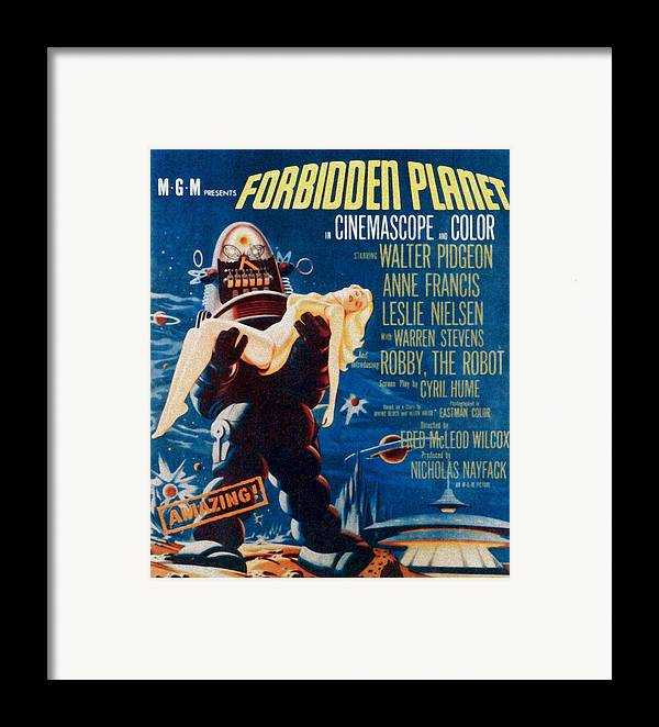 1950s Poster Art Framed Print featuring the photograph Forbidden Planet, Left Robby The Robot by Everett