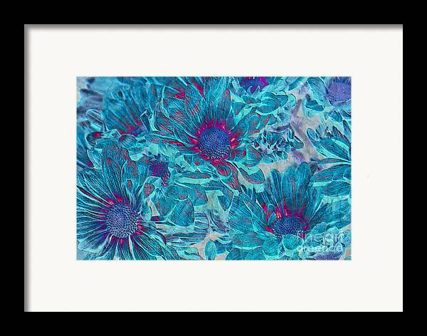 Daisies Framed Print featuring the digital art Foulee De Petales - A01t by Variance Collections