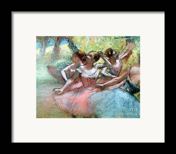 4 Framed Print featuring the pastel Four Ballerinas On The Stage by Edgar Degas