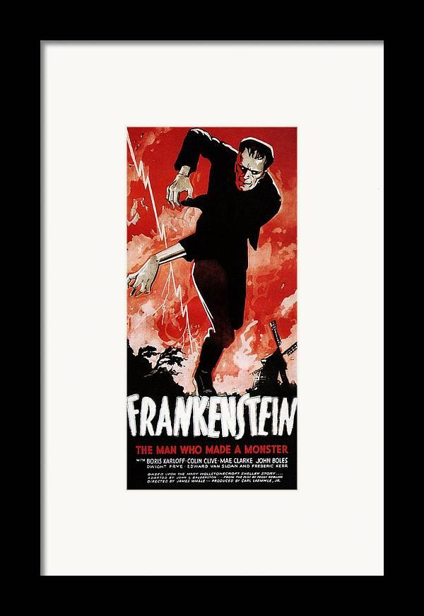 1930s Movies Framed Print featuring the photograph Frankenstein, Boris Karloff, 1931 by Everett