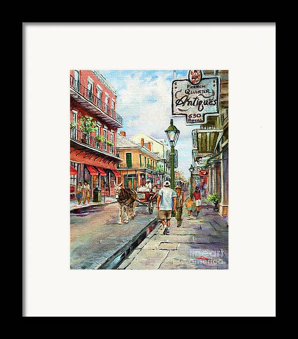 Royal Street Framed Print featuring the painting French Quarter Antiques by Dianne Parks