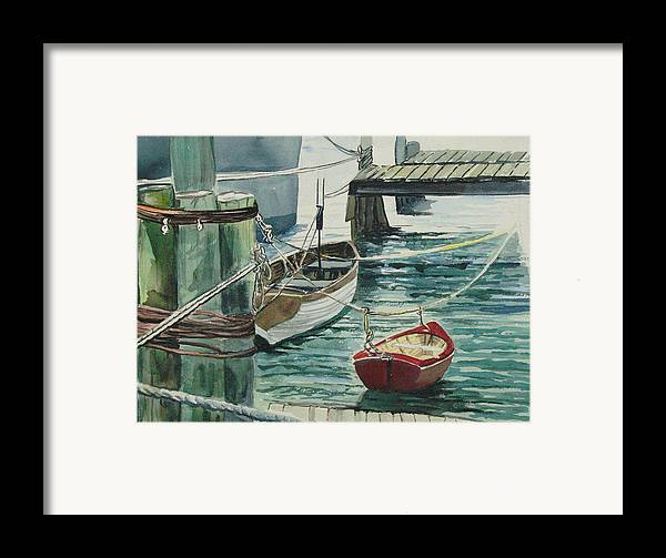 Galveston Framed Print featuring the painting Galveston Boats Watercolor by Judy Loper