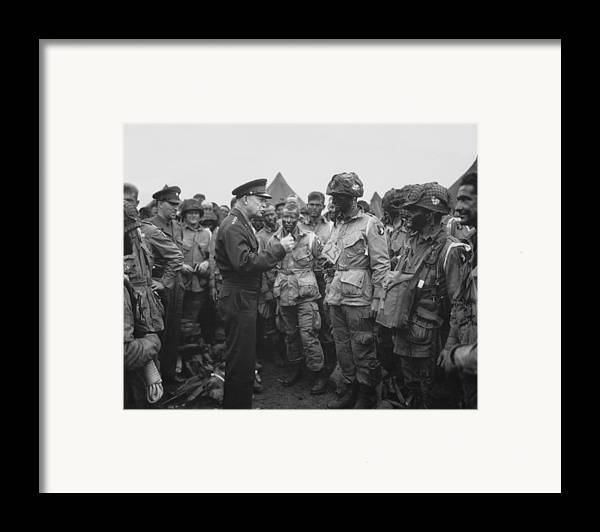101st Airborne Division Framed Print featuring the photograph General Eisenhower On D-day by War Is Hell Store
