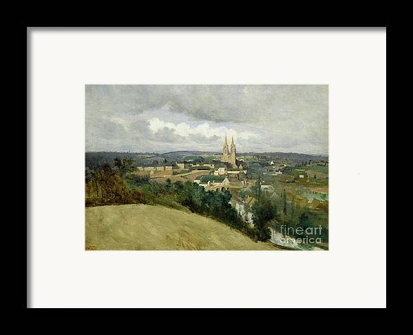 General Framed Print featuring the painting General View Of The Town Of Saint Lo by Jean Corot