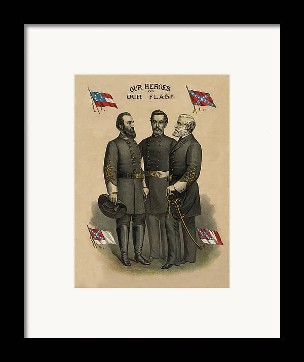 Confederate Framed Print featuring the painting Generals Jackson Beauregard And Lee by War Is Hell Store