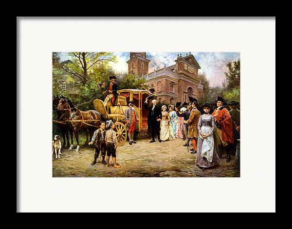 George Washington Framed Print featuring the painting George Washington Arriving At Christ Church by War Is Hell Store