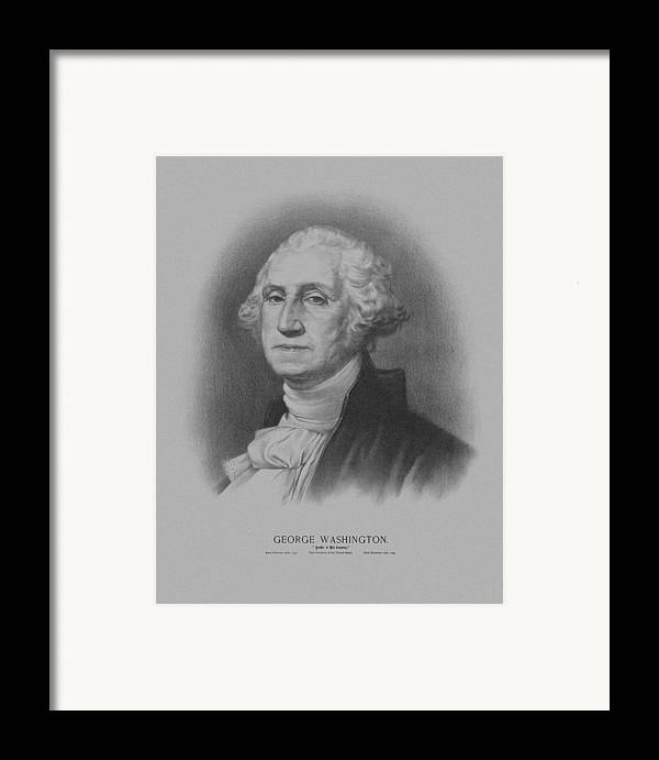 George Washington Framed Print featuring the drawing George Washington by War Is Hell Store