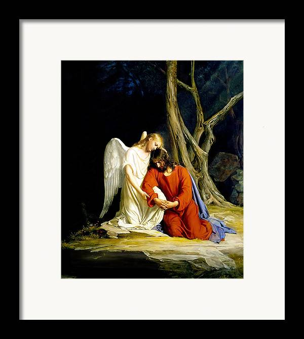 Carl Bloch Framed Print featuring the painting Gethsemane by Carl Bloch