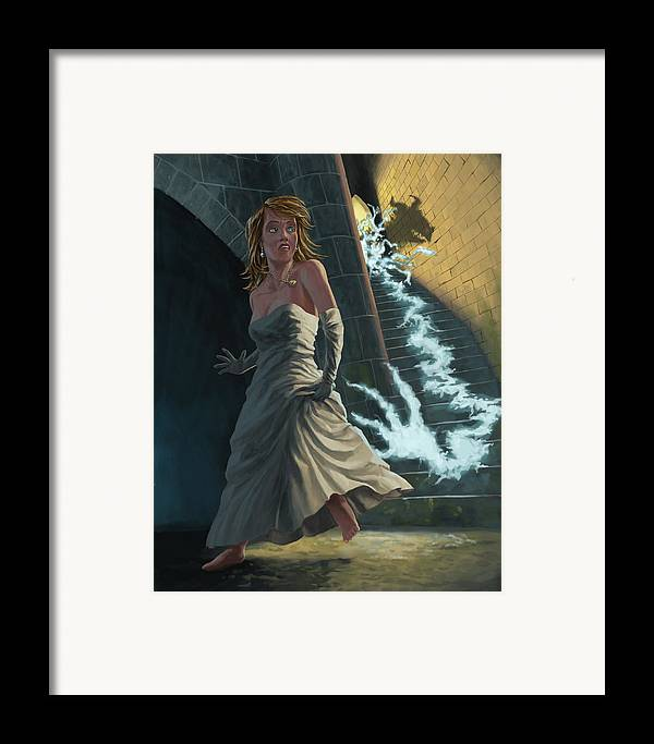 Princess Framed Print featuring the painting Ghost Chasing Princess In Dark Dungeon by Martin Davey