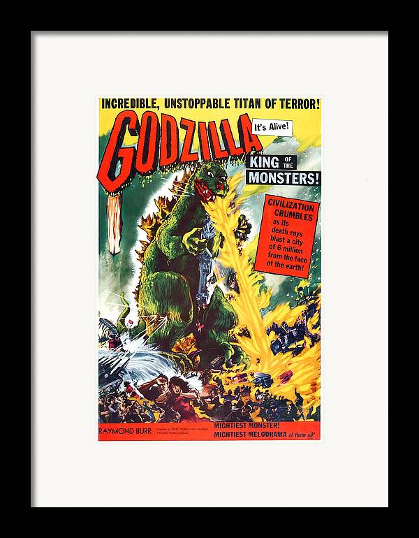 1950s Poster Art Framed Print featuring the photograph Godzilla, King Of The Monsters, Aka by Everett
