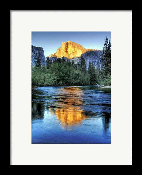 Vertical Framed Print featuring the photograph Golden Light On Half Dome by Mimi Ditchie Photography