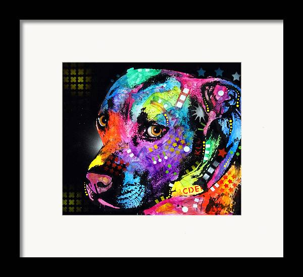 Pit Bull Framed Print featuring the painting Gratitude Pitbull by Dean Russo