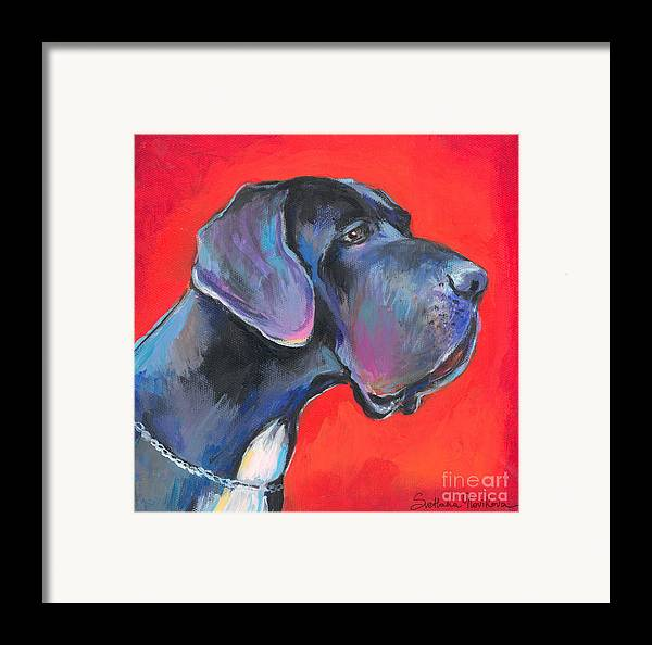 Great Dane Painting Framed Print featuring the painting Great Dane Painting by Svetlana Novikova