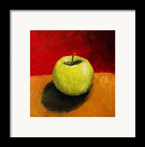 Apple Framed Print featuring the painting Green Apple With Red And Gold by Michelle Calkins