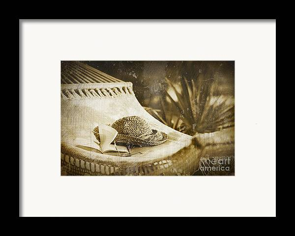 Garden Framed Print featuring the photograph Grunge Photo Of Hammock And Book by Sandra Cunningham