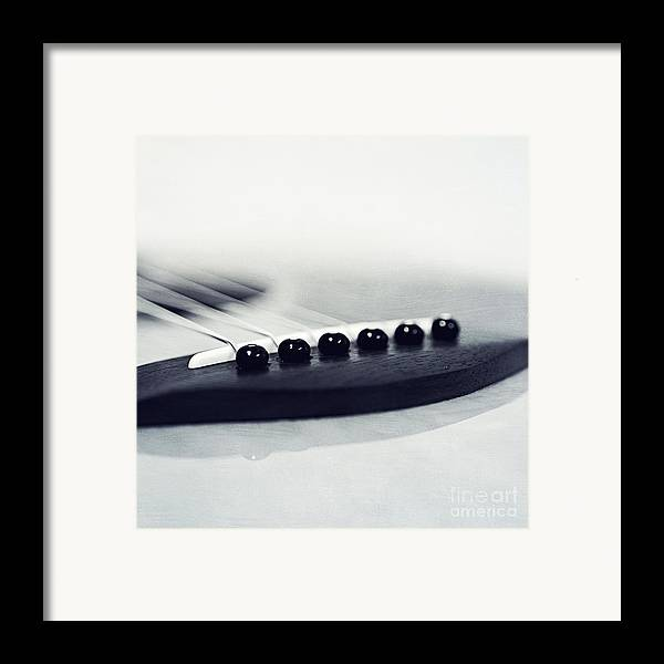 Black Framed Print featuring the photograph guitar II by Priska Wettstein