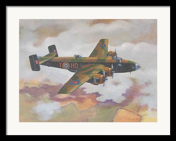 Aviation Art Framed Print featuring the painting Handley Page Halifax by Murray McLeod