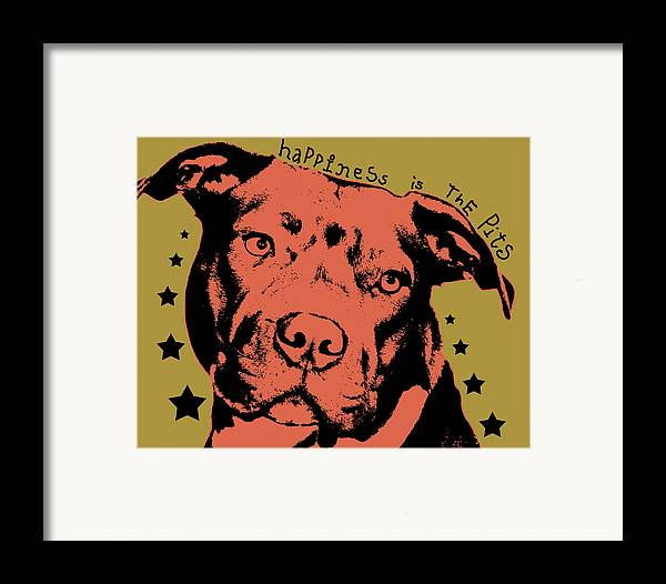 Dog Framed Print featuring the painting Happiness Is The Pits by Dean Russo
