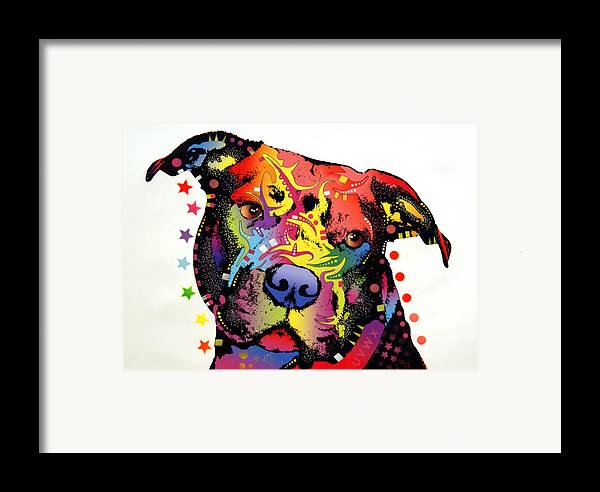 Dog Framed Print featuring the painting Happiness Pitbull Warrior by Dean Russo