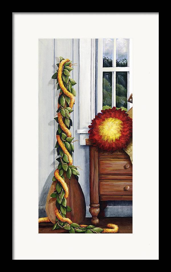 Acrylic Framed Print featuring the painting Hawaiian Still Life Panel by Sandra Blazel - Printscapes
