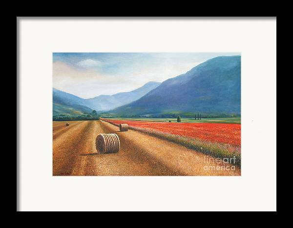 Poppies Framed Print featuring the painting Haybales In Italy by Ann Cockerill
