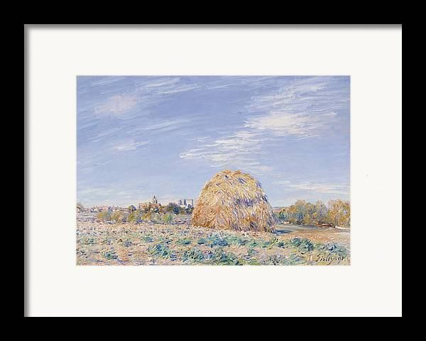 Haystack On The Banks Of The Loing Framed Print featuring the painting Haystack On The Banks Of The Loing by Alfred Sisley
