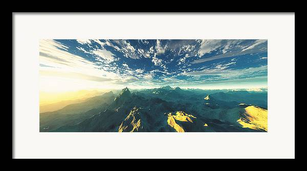 Mountains Framed Print featuring the digital art Heavens Breath 16 by The Art of Marsha Charlebois