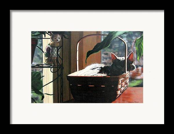 Cat Framed Print featuring the painting Her Basket by Sandra Chase