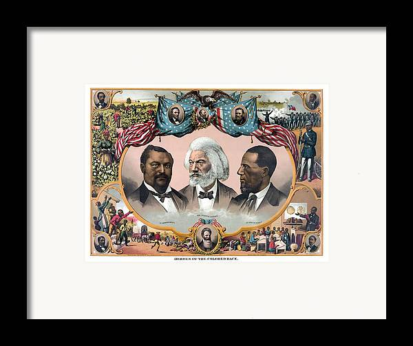 Black History Framed Print featuring the painting Heroes Of The Colored Race by War Is Hell Store