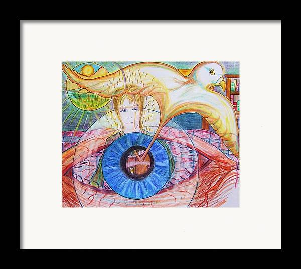 Holy Ghost Framed Print featuring the drawing Holy Ghost Shining Eyes by Richard Hubal