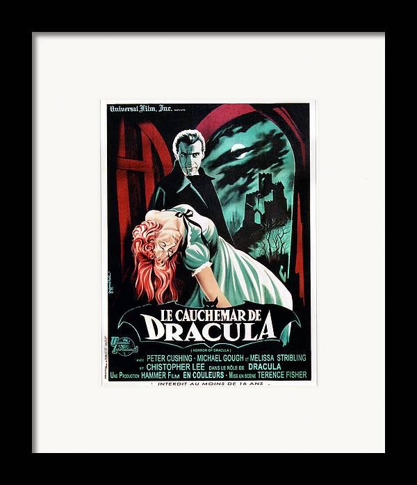 1950s Poster Art Framed Print featuring the photograph Horror Of Dracula Aka Le Cauchemar De by Everett