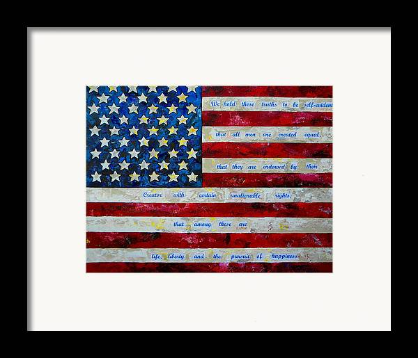 American Flag Framed Print featuring the painting I Believe by Patti Schermerhorn
