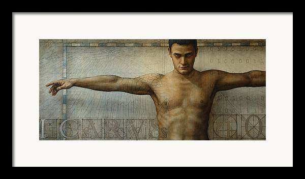 Icarus Framed Print featuring the painting Icarus 4.0 by Jose Luis Munoz Luque