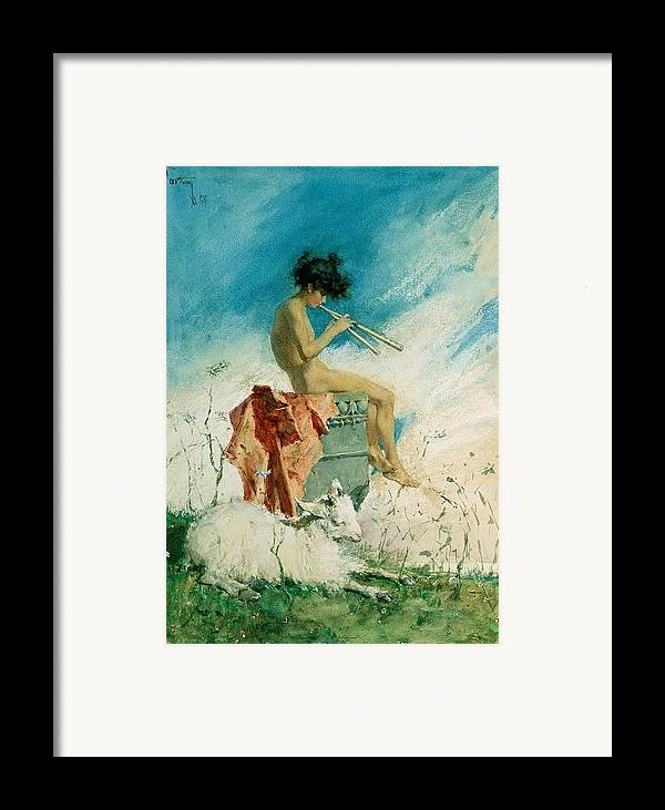 Idyll Framed Print featuring the painting Idyll by Mariano Fortuny y Marsal