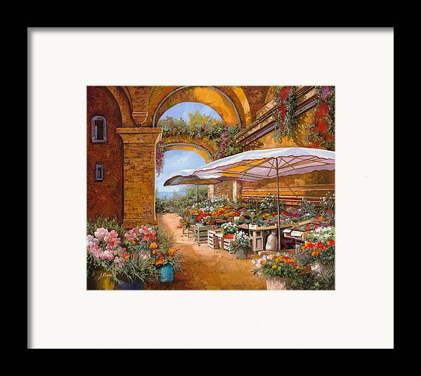 Market Framed Print featuring the painting Il Mercato Sotto I Portici by Guido Borelli