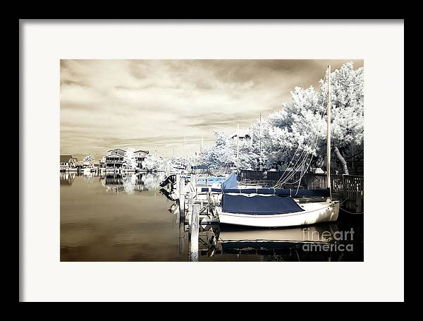 Infrared Boats At Lbi Framed Print featuring the photograph Infrared Boats At Lbi Blue by John Rizzuto