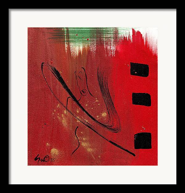 Abstract Framed Print featuring the mixed media Inspiration by Simone Fennell