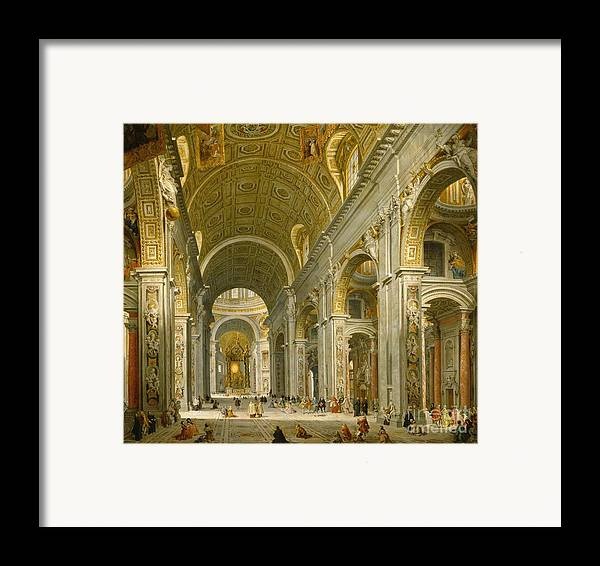 Interior Framed Print featuring the painting Interior Of St. Peter's - Rome by Giovanni Paolo Panini