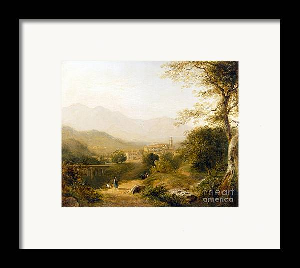 Italian; Landscape; Rural; Countryside; Village; Town; Bridge; Architecture; Stream; Figures; Picturesque; Tree; Trees Framed Print featuring the painting Italian Landscape by Joseph William Allen