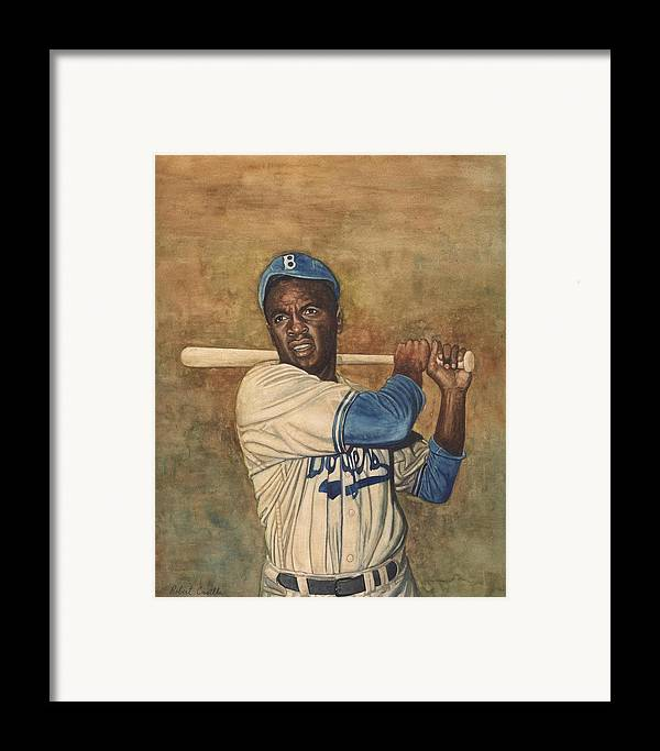 Baseball Framed Print featuring the painting Jackie Robinson by Robert Casilla